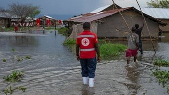 International Red Cross Red Crescent workers respond to floods in Uganda, one of many countries that uses a 'forecast-based early action' program to respond to floods. Photo by International Red Cross Red Crescent Climate Centre